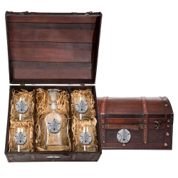 Sand Dollar Capitol Decanter Set w/ Chest
