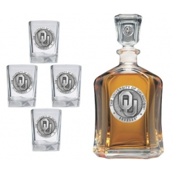 "University of Oklahoma ""OU"" Capitol Decanter Set"