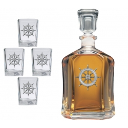 Ship Wheel Capitol Decanter Set