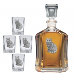 Cat Sitting Capitol Decanter Set