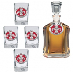 "Iowa State University ""I"" Capitol Decanter Set - Enameled"