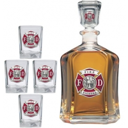 Firefighter Capitol Decanter Set - Enameled