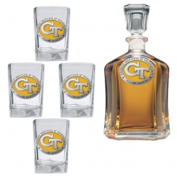 "Georgia Institute of Technology ""GT"" Capitol Decanter Set - Enameled"