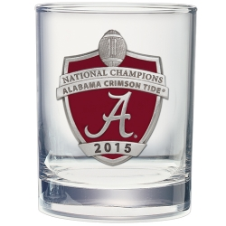 2015 CFP National Champions Alabama Crimson Tide Double Old Fashioned Glass - Enameled