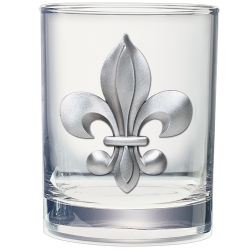 Fleur de Lis Double Old Fashioned Glass