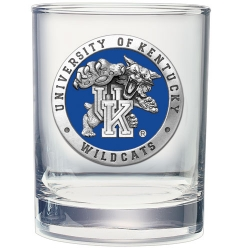 "University of Kentucky ""Wildcats"" Double Old Fashioned Glass - Enameled"