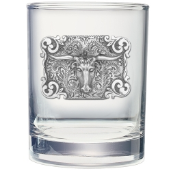 Texas Longhorn Bull Double Old Fashioned Glass