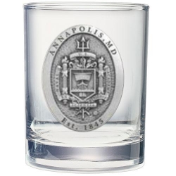 "Naval Academy ""Crest"" Double Old Fashioned Glass"