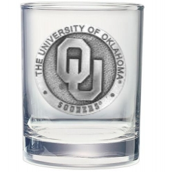 """University of Oklahoma """"OU"""" Double Old Fashioned Glass"""