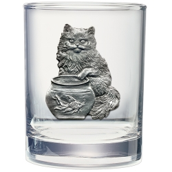 Cat Fishing Double Old Fashioned Glass
