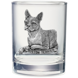 Boston Terrier Double Old Fashioned Glass