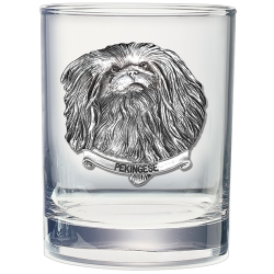 Pekingese Double Old Fashioned Glass