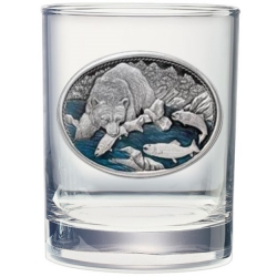 Brown Bear with Fish Double Old Fashioned Glass #2 - Enameled