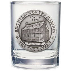 "Marine Corps ""Tun Tavern"" Double Old Fashioned Glass"