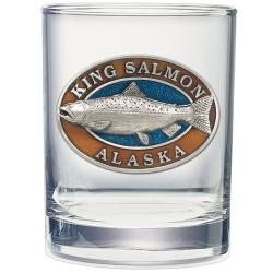 King Salmon Double Old Fashioned Glass  - Enameled