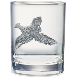 "Pheasant ""Flight"" Double Old Fashioned Glass"