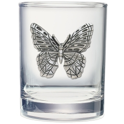 Butterfly Double Old Fashioned Glass