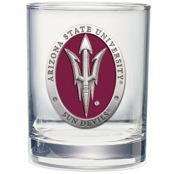 "ASU ""Pitchfork"" Double Old Fashioned Glass - Enameled"