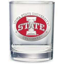 "Iowa State University ""I"" Double Old Fashioned Glass - Enameled"
