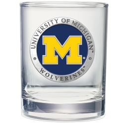 University of Michigan Double Old Fashioned Glass - Enameled
