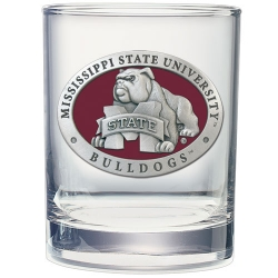 "Mississippi State University ""Bulldogs"" Double Old Fashioned Glass - Enameled"