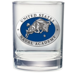 "Naval Academy ""Bill the Goat"" Double Old Fashioned Glass - Enameled"