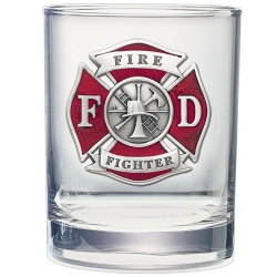 Firefighter Double Old Fashioned Glass - Enameled
