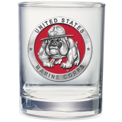 "Marine Corps ""Bulldogs"" Double Old Fashioned Glass - Enameled"