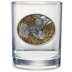Ruffed Grouse Double Old Fashioned Glass  - Enameled