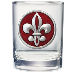 Fleur de Lis #2 Double Old Fashioned Glass - Enameled