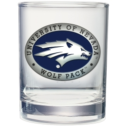 University of Nevada Double Old Fashioned Glass - Enameled