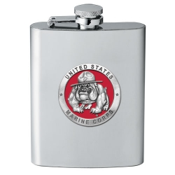 "Marine Corps ""Bulldogs"" Flask - Enameled"