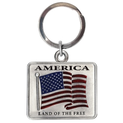 US Flag Key Chain - Enameled