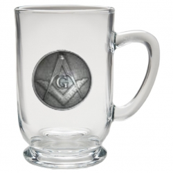 Masonic Square & Compass Clear Coffee Cup