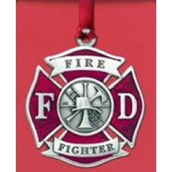 Firefighter Ornament - Enameled