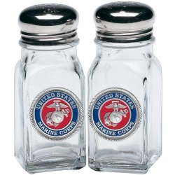 "Marine Corps ""USMC"" Salt and Pepper Shaker Set - Enameled"