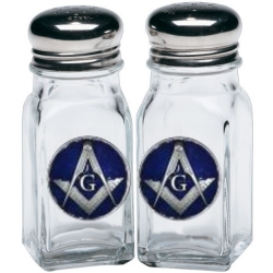 Masonic Square & Compass Salt and Pepper Shaker Set - Enameled
