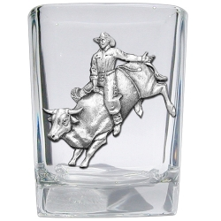 Bull Rider Square Shot Glass