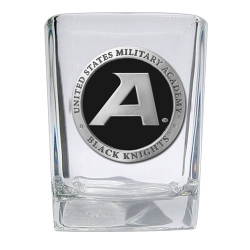 "Army ""Black Knight's"" Square Shot Glass - Enameled"