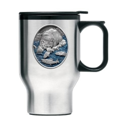 Brown Bear with Fish Thermal Travel Mug - Enameled