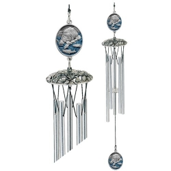 """Brown Bear with Fish 24"""" Wind Chime - Enameled"""