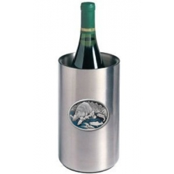 Brown Bear with Fish Wine Chiller - Enameled