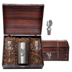 Rooster Wine Set w/ Chest