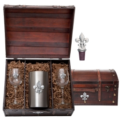 Fleur de Lis Wine Set w/ Chest