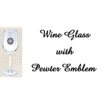 Wine Glass with Pewter Emblem 12oz