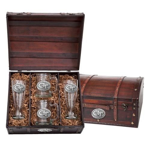 """Georgia Institute of Technology """"GT"""" Beer Set w/ Chest"""