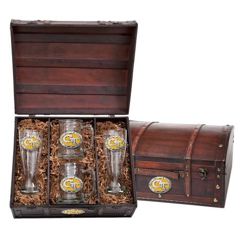 """Georgia Institute of Technology """"GT"""" Beer Set w/ Chest - Enameled"""