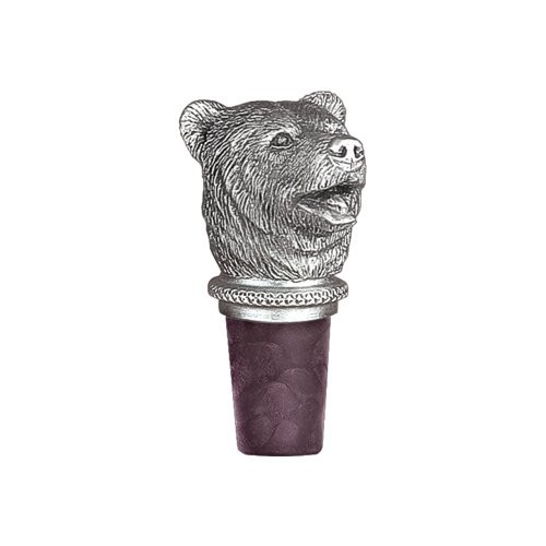 Brown Bear Pewter Bottle Stopper