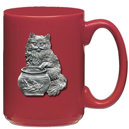 Cat Fishing Red Coffee Cup