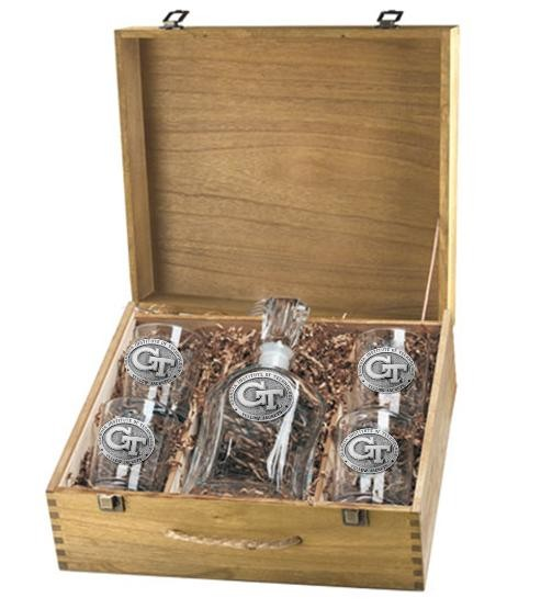 """Georgia Institute of Technology """"GT"""" Capitol Decanter Set w/ Box"""